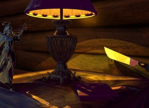 A shiny dark lamp is -0.1 inch above a shiny wooden table. A 40% dark wall is behind the table. It is 3 feet wide [panel]. Camera light is black. 2 orange lights are -10 inches above the lamp. The sun is sea green. A yellow light is 8 inches in the lamp. Ambient light is purple. A shiny pale knife is 2 inches behind and -4 inches right of the lamp. It is leaning 20 degrees to the left. A small cream notebook is 6 inches in front of the knife. It is leaning 90 degrees to the back. It is facing southeast. A very tiny silver angel is in front of the lamp. It is facing east.