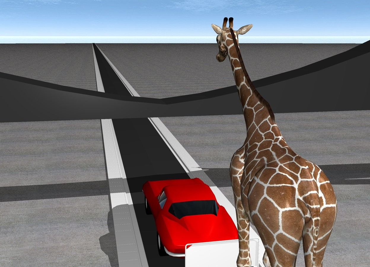 Input text: There is a 5000 feet long street. On the street is a car. behind the car is a very big baggage cart. On the baggage cart is a giraffe. In front of the car is a bridge. The ground is pavement.