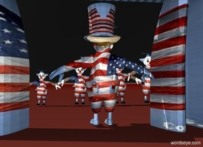 a 20 inch tall and 40 inch wide [flag] curtain.a 1st 15 inch tall clown is -30 inch left of the curtain.the shirt of the 1st clown is [flag].a 5 inch tall [flag] hat is -2 inch above the 1st clown.a 2nd 10 inch tall [flag] clown is 30 inch behind the 1st clown.the 2nd clown is 0.5 inch left of the 1st clown.a 3rd 12 inch tall [flag] clown is -1 inch right of the 2nd clown.a 4th 13 inch tall [flag] clown is -2 inch right of the 3rd clown.a 5th 15 inch tall [flag] clown is -6 inch right of the 4th clown.the 1st clown is facing north.sky is black.ground is [flag].the leg of the 1st clown is [flag].the hair of the 1st clown is orange.