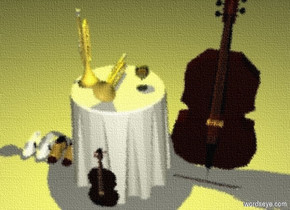 a table.a first trumpet is above the table.the first trumpet is face down.the first trumpet is -12 inches left of the table.a second trumpet is on the table.a glass is 2 inches right of the second trumpet.a first pair is left of the table.a second pair is left of the first pair.a violin is in front of the table.the violin is face down.a musical instrument is right of the table.a violin bow is in front of the musical instrument.it is evening.a 55 % yellow light is 3 feet above the table.