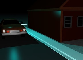 There is a house. Next to the house is a first long street.  On the first street is a car. behind the first street is a second  street. The second street faces right. The ground is pavement. There is a very big cyan light above  the car. It is night.