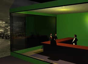 a 1st 20 foot wide and 1 foot tall malachite green wall. a 2nd 20 foot wide and 1 foot tall malachite green wall is -1 foot to the left and -.5 foot behind the first wall. it is facing right. the  2nd wall's left is malachite green. a 3rd 3 foot tall and 14 foot wide wood wall is 6 feet behind and -14 feet to the right of the 1st wall. a 4th 3 foot tall and 14 foot wide wood wall is -1 foot to the left of and -.5 feet behind the 3rd wall. it is facing right. a 1st 4 inch tall and 3 foot deep and 14 foot wide wood cube is -1 inch above the 3rd wall. a 2nd 4 inch tall and 3 foot deep and 14 foot wide wood cube is -1 inch above and -2.7 foot to the left of the 4th wall. it is facing right. a 5th 12 foot tall and 20 foot wide malachite green wall is 20 feet behind the first wall. a 1st 10 foot tall and 20 foot wide glass wall is -1 inch above the first wall. a 2nd 10 foot tall and 20 foot wide glass wall is -1 inch above the 2nd wall. it is facing right. a 6th 1 foot tall and 20 foot wide malachite green wall is -1 inch above the 1st glass wall. a 7th 1 foot tall and 20 foot wide malachite green wall is -1 inch above the 2nd glass wall. it is facing right. a tile floor is -1 inch above and -.5 foot behind the 6th wall.  a 8th 15 foot tall and 30 foot wide [city] wall is 0 feet to the left of the 2nd malachite green wall. it is facing right.  it is night. a yellow light is -2 foot above the floor. a 5 foot tall woman is 1 foot to the left of the 4th wall. she is facing right. a 1st 5.2 foot tall business man is 1 foot in front of the woman. he is facing right. a 2nd 5.3 foot tall businessman is 1 foot in front of the 3rd wall. he is -5 feet to the left of the 4th wall. he is facing back. a 5.3 foot tall waiter is 2 feet behind the 3rd wall. he is -7 feet to the left of the 4th wall. he is facing left. the ground is [city]. a gold light is 5 feet in front of the 1st glass wall. it is 3 feet above the ground. a linen light is 2 feet above the 2nd businessman.