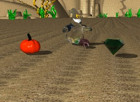 The ground is dirt. A red echidna is 10 feet away from a pumpkin. There is a ghost behind the echidna. There is a large pumpkin 5 feet away from the echidna. There is a  gigantic green emerald 3 feet in front of the echidna
