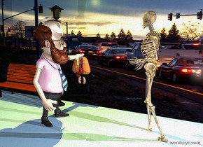 a man is 3 feet to the left of a skeleton. he is 0 inches above a large forget me not blue floor. he is facing the skeleton. the skeleton is facing the man. a group is -.8 foot behind and -4 feet above the man. a [street] wall is behind the man. the sun's altitude is 10 degrees. a lemon light is in front of the group. a linen light is -4 feet above and to the right of the skeleton. a bench is in front of the wall. it is 1 foot to the left of the man. a 6.5 foot tall street lamp is to the right of the bench. a lemon light is -2 inches above the street lamp.