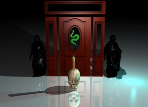 There is a small snake. The snake faces up. There is a round door. the snake is in front of the door. The snake is 3 feet above the ground. The ground is shiny. There is a black statue on the  right of the door. it is 4 feet tall. There is a  white light in front of the statue.  The light is 4 feet above the ground. There is a second black statue on the left of the door. it is 4 feet tall. There is a  white light in front of the statue. The light is 4 feet above the ground.There is a big skull 2 feet in front of the door. 1 inch above the skull is a big candle. It is night. a big cyan light is under the skull.