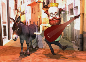 a gold crown is -2 inches above a man. a lute is -2 inches in front of and -4 feet above and -3.5 feet to the right of the man. it is leaning 55 degrees to the left. the man's shirt is green. a donkey is to the left of the man. a [city] wall is behind the donkey. it is noon. the wall is .5 inch in the ground. the camera light is linen. a lavender light is 2 inches in front of and -1 inch above the man. a copper light is 1 foot in front of and -3 inches above the donkey. the sun is copper.