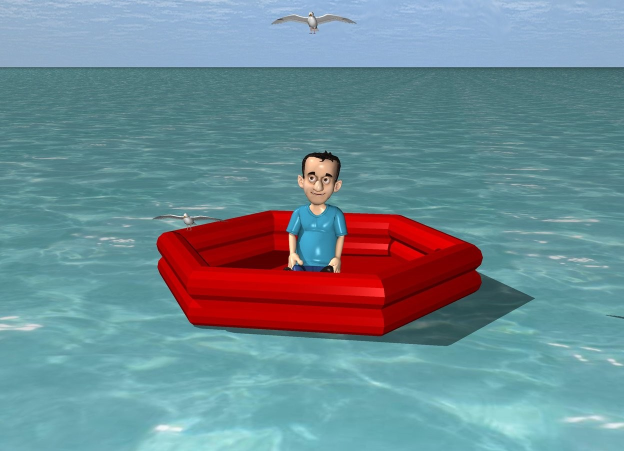 Input text: the huge ocean. a raft is -1 inches above the ocean. a small boy is in the raft. a bird is 1 foot left of the boy. it is .91 foot above the ocean. another bird is 2 feet above the boy.