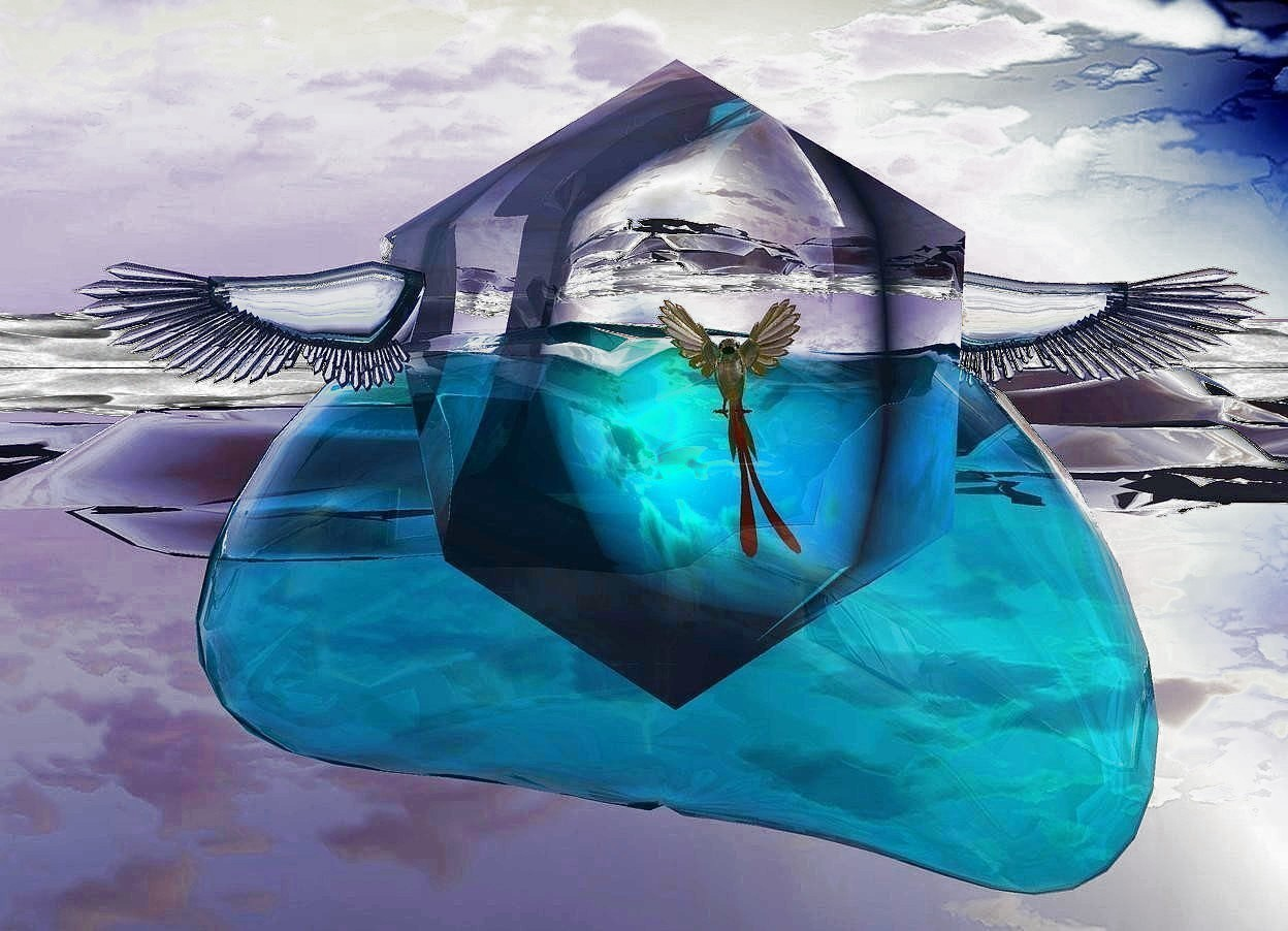 Input text: a giant cyan bubble. a very large clear icosahedron is -5 feet above the bubble. 1st huge clear turquoise wing is -0.5 feet right of and -4 feet above the icosahedron. it faces back. 2nd huge clear turquoise wing is -1.1 feet left of and -4 feet above and -0.8 feet to the front of the icosahedron. a large gold bird is -5 feet above and -5 feet left of and -2 feet to the front of the icosahedron. 3  magenta lights are 2 inches in front of the bird. the ground is clear.