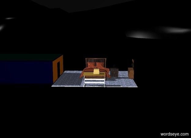 Input text: There is a bed in the middle of the room. There is a nightstand to the right of the bed facing front. A small lamp is on top of the nightstand. The ground is black. The sky is black. There is a table 4 feet in front of the bed. A tv is on the table. The tv is facing the bed. There is a dresser 5 feet to the right of the bed. The dresser is facing the bed.