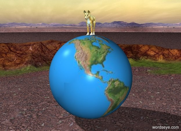 Input text: There is a huge golden dog on a gigantic globe.