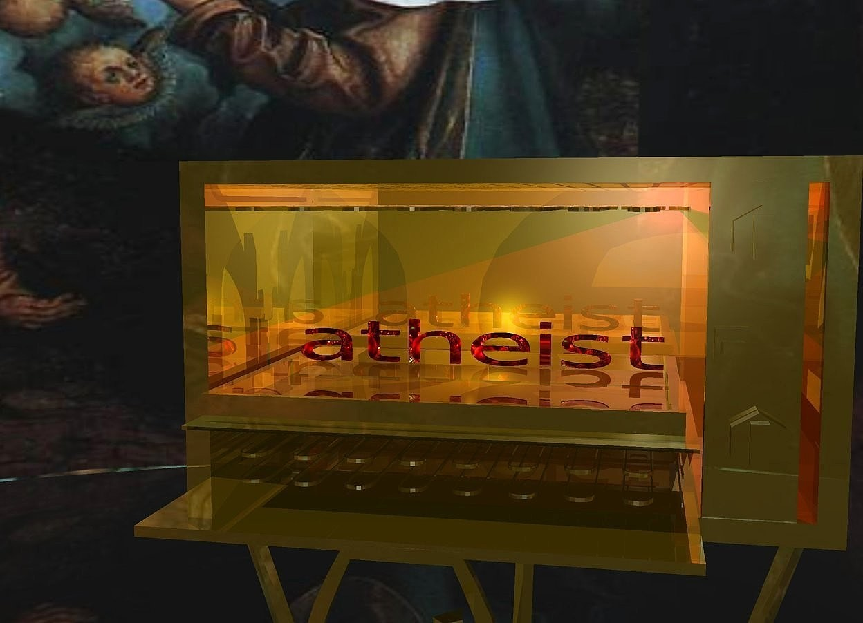 Input text: A [religious] wide atheist is in a humongous dark golden toaster oven. The toaster oven is 500 feet above the ground. A golden light is in front of the atheist. A yellow light is behind the atheist. A red light is 3.5 feet above and -2 inches right of the atheist. The toaster oven is on a humongous dark gold coatrack. Camera light is cream. The ground is shiny black. The sky is God.