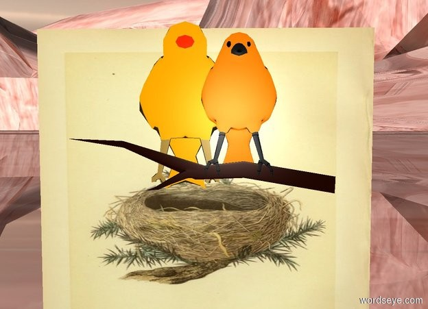 Input text: a [nest] cube. a 1st flat bird is 0 inches in front of and -.5 feet above the cube. a 2nd .5 foot tall flat bird is -6 inches to the left of the 1st bird.  the ground is 500 feet deep. it is shiny apricot.