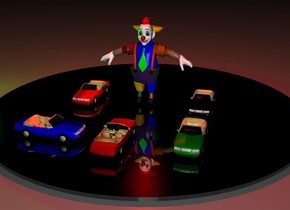 There is an enormous  circle. It is night.  Under the circle is a very big  green light. The circle is black and shiny. on the circle is a clown. 3 feet in front of the clown is a first tiny car. The car faces the clown. 1 feet next to the first car is a second tiny blue car. It faces the first car. On the right of the clown is a third tiny car. The third car is black. 1 feet in front of the third car is a fourth tiny  car. The fourth car is green. On the left of the clown is a fifth tiny car.  Above the clown is a red light.