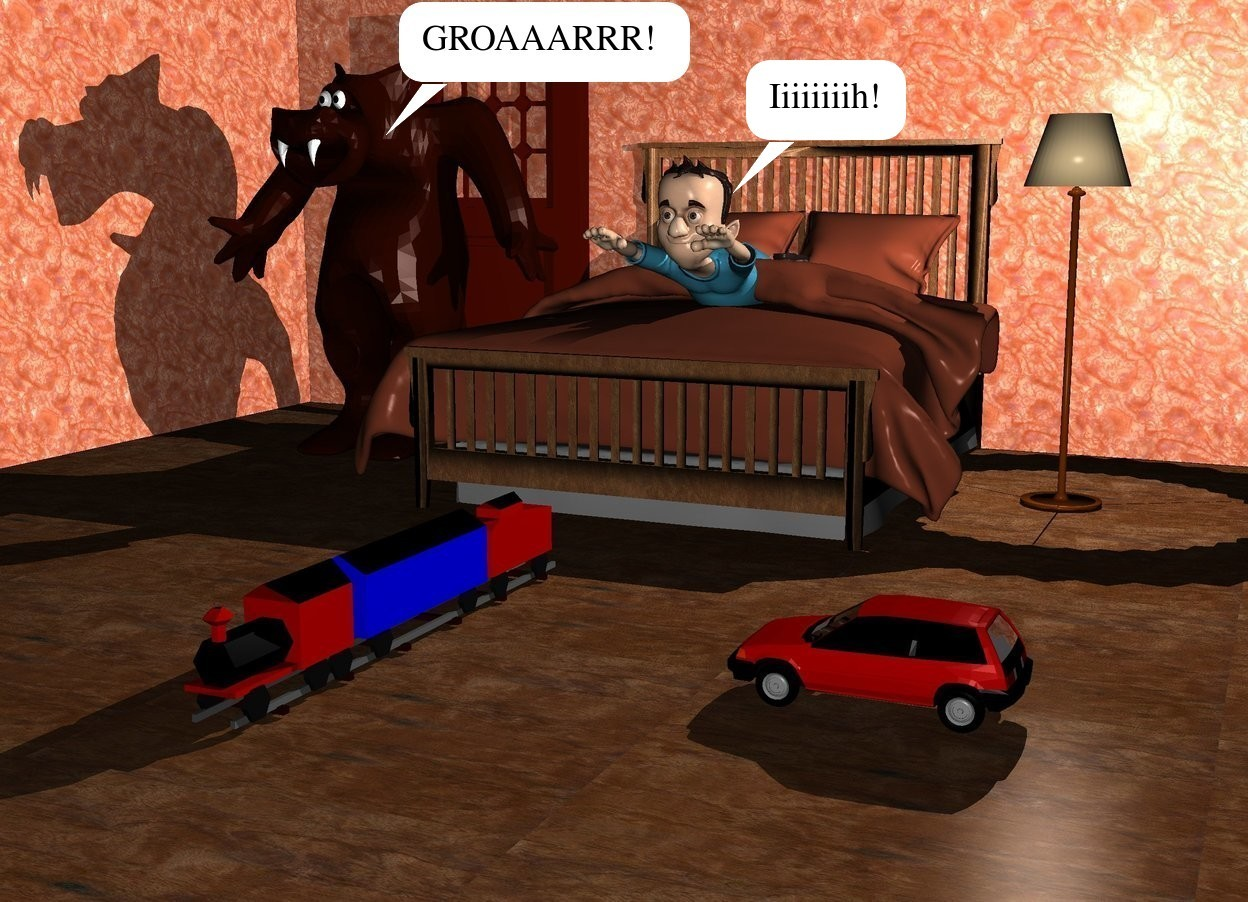 Input text: There is a bed in front of a first wall.The first wall is  [texture]. On the left of the first wall is a second wall. The second wall faces right. The second wall is  [texture].  On the right of the first wall is a third wall facing right. The second wall is  [texture]. On the bed is a boy.  On the left of the bed is a door. The door is in front of the first wall. In front of the door is a 6 feet tall monster.under the monster is a big cyan light. On the right side of the bed is a lamp. There is a light 0 feet above the lamp. The ground is wood. It is night. 2 feet in front of the bed is a 1 feet tall train. 3 feet on the right of the train is a 10 inch tall car. The car faces the train.