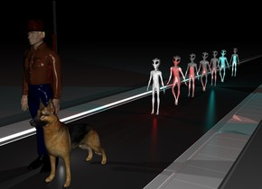 There is a 500 feet long street. On the street is a first alien. 3 feet behind the first alien is a second alien. 3 feet behind the second alien is a third alien. 3 feet behind the third alien is fourth alien. 3 feet behind the fourth alien is fifth alien. 3 feet behind the fifth alien is sixth alien. 6 feet behind the sixth alien is a seventh alien. 10 feet in front of the first alien is a man. On the right of the man is a dog. Behind the man is a gun. The gun faces up. The gun is 3 feet above the ground. It is night. There is a big cyan  light under the fifth alien. There is a red light under the first alien. The ground is shiny. There is a white light behind the man.