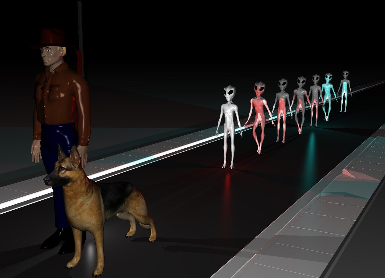 Input text: There is a 500 feet long street. On the street is a first alien. 3 feet behind the first alien is a second alien. 3 feet behind the second alien is a third alien. 3 feet behind the third alien is fourth alien. 3 feet behind the fourth alien is fifth alien. 3 feet behind the fifth alien is sixth alien. 6 feet behind the sixth alien is a seventh alien. 10 feet in front of the first alien is a man. On the right of the man is a dog. Behind the man is a gun. The gun faces up. The gun is 3 feet above the ground. It is night. There is a big cyan  light under the fifth alien. There is a red light under the first alien. The ground is shiny. There is a white light behind the man.