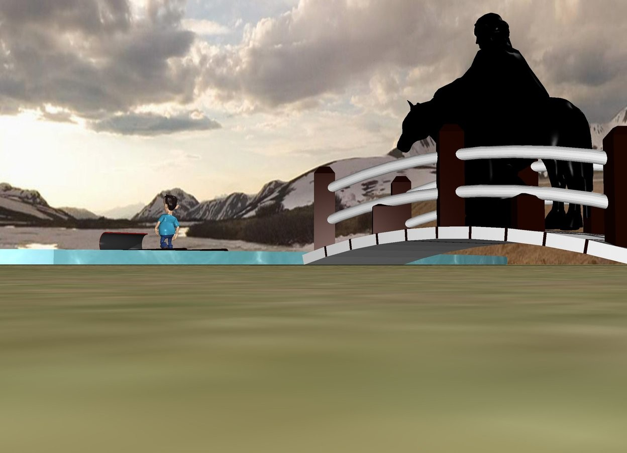 Input text: there is a bridge. in front of the bridge is a big water. the bridge faces west. on the water is a toboggan. the toboggan is 8 feet in front of the bridge. There is a black horse on the bridge. The horse is 4 feet tall. The horse faces the toboggan. a 6 foot tall black statue is -4 feet above the horse. a small boy is on the toboggan. the ground is grass.