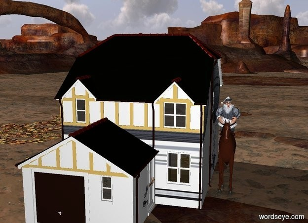 Input text: a 5 foot man on a 10 foot tall 4 foot long horse on the right side of a 3 story house