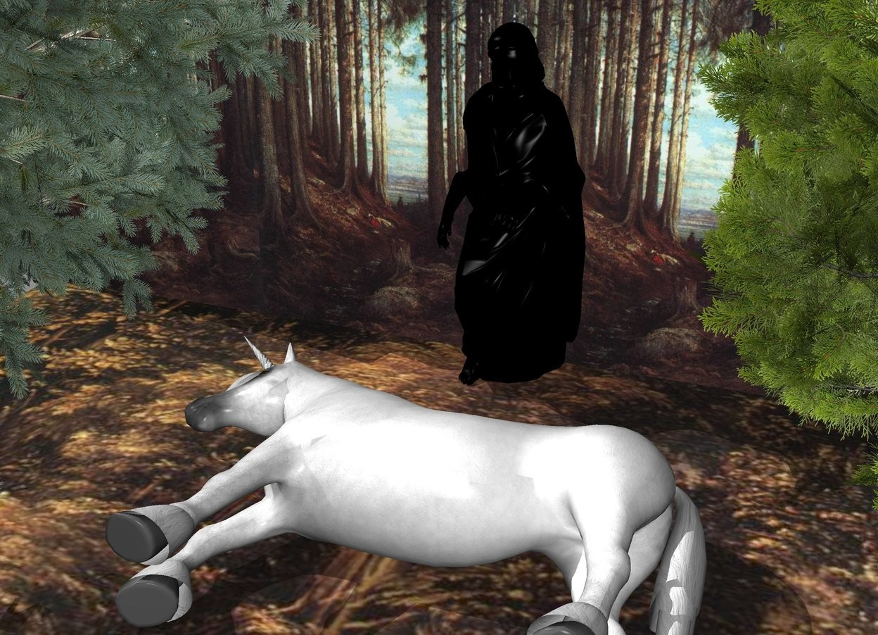 Input text: a large [forest] wall is behind a large [forest] floor. a 1st tree is in front of and -20 feet to the left of the wall. a 2nd tree is in front of and -14 feet to the right of the wall. a large unicorn is 5 feet in front of the wall. it is leaning 90 degrees to the right. behind the unicorn is a  big black statue. the unicorn faces west.