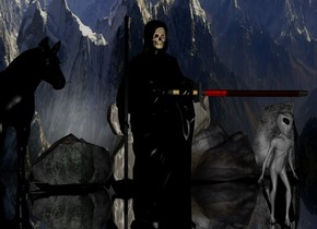 a black statue.a skull is -12 inches above the statue.the skull is -26 inches in front of the statue.the skull's eye is red.a sword is -8 inches in front of the statue.the sword is face up.the sword is facing right.the sword is 3.3 feet above the ground.the sword is -62 inches left of the statue.a tall black wooden stick is  -3 inches left of the statue.the sword is face up.a black horse is 1 feet behind the statue.the horse is 1 feet left of the statue.the horse is facing southeast.a 3 feet tall alien is in front of the statue.the alien is grey.the alien is 1 feet right of the statue.a flat[mountain] wall is 10 feet behind the statue.the wall is 100 feet long.the wall is 40 feet tall.silver ground.it is night.the wall is 2 inches in the ground.a first rock is 1 feet right of the statue.the first rock is 3 feet behind the statue.a second rock is 1 feet right of the horse.a third rock is -6 inches left of the second rock.a fourth rock is right of the first rock.