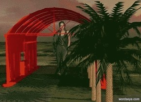 a 650 inch tall   red building.ten palm trees are -300 inch left of the building.ground is grass.a 630 inch tall woman is -700 inch above the building.the woman is facing north.