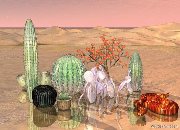Input text: 3 large shiny cacti are in front of 3 very large shiny cacti. 3 huge shiny cacti are behind the very large shiny cacti. the ground is shiny. a huge [pattern] snake is to the right of the very large cacti.