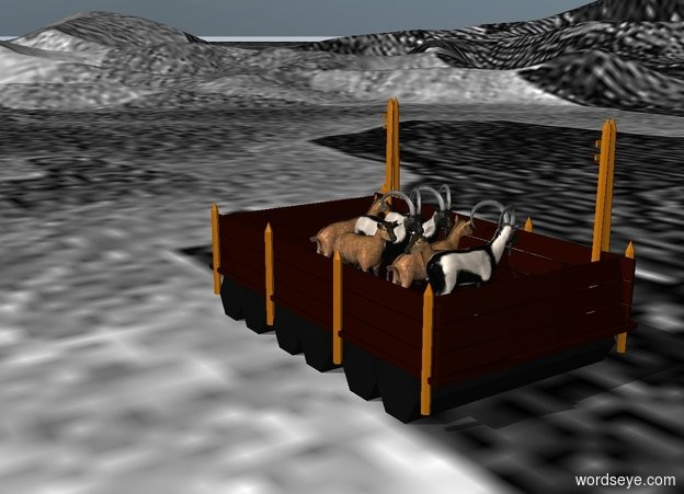 Input text: a ferry.the ground is green water.a first goat is on the ferry.a second goat is right of the first goat.a third goat is left of the first goat.a fourth goat is in front of the first goat.the fourth goat is facing right.a fifth goat is in front of the fourth goat.the fifth goat is facing left.a sixth goat is in front of the fifth goat.the sixth goat is facing right.a seventh goat is behind the first goat.the seventh goat is facing right.