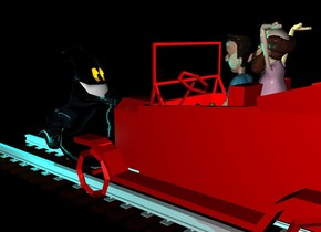 there is a 50 feet long track 20 feet above the ground. On the track is a red car. Inside the car is a boy. behind the boy is a professor.  The ground is black and shiny. There is a big yellow light above the car. 1 feet in front of the car is a big ghost. The ghost faces the car. 0 feet above the ghost is a big cyan light. In front of the ghost is a second big cyan light. On the right of the ghost is a third big cyan light. It is night.
