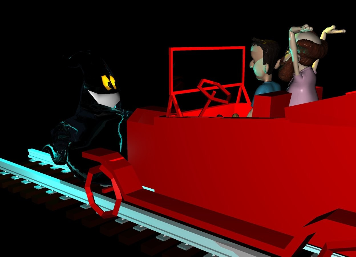 Input text: there is a 50 feet long track 20 feet above the ground. On the track is a red car. Inside the car is a boy. behind the boy is a professor.  The ground is black and shiny. There is a big yellow light above the car. 1 feet in front of the car is a big ghost. The ghost faces the car. 0 feet above the ghost is a big cyan light. In front of the ghost is a second big cyan light. On the right of the ghost is a third big cyan light. It is night.