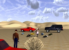 The ground is [sand].   A [sand] bush.  A cowboy is 2 feet to the right of the bush.  The 1st gun is -5 inches beneath the cowboy's hand. The 1st gun is leaning 90 degrees to the front.  A truck is 8 feet behind the cowboy. The truck is facing west.  The 1st man is 25 feet in front of the cowboy. The first man is facing east.  The 2nd gun is -10 inches beneath the 1st man's hand. The 2nd gun is facing the cowboy. The 2nd gun is -15 inches behind the 1st man.  The 2nd man is 3 feet to the right of the 1st man. The 2nd man is facing the cowboy. The 2nd man is leaning 90 degrees to the front.  The 3rd man is 3 feet to the left of the 1st man. The 3rd man is facing the cowboy. The 3rd man is leaning 90 degrees to the back.  The 4th man is 5 feet in front of the 1st man. The 4th man is 1.5 feet to the right of the 1st man. The 4th man is facing the cowboy. The 4th man is leaning 90 degrees to the front.  The 5th man is 3 feet to the right of the 4th man. The 5th man is facing the cowboy. The 5th man is leaning 90 degrees to the back.  The 6th man is 3 feet to the left of the 4th man. The 6th man is facing the cowboy. The 6th man is leaning 90 degrees to the back.  The 7th man is 3 feet to the left of the 6th man. The 7th man is facing the cowboy. The 7th man is leaning 90 degrees to the front.  The 1st car is 30 feet in front of the first man. The 1st car is 9 feet to the right of the 1st man. The 1st car is facing east.  The 2nd car is 10 feet to the left of the 1st car. The 2nd car is facing east.