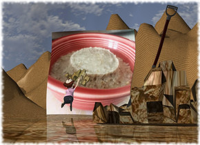the [oatmeal] wall is 8 feet wide. the ground is dirt. it is tall. the small man is 4 feet in front of the wall. he is facing back. he is leaning 50 degrees to the back. the huge [food] rock is -9 inches above and behind the man. it is leaning 20 degrees to the left. a 2nd small dirt rock is 17 feet in front and to the right of the wall. the small shovel is in the 2nd rock. it is leaning 20 degrees to the left.