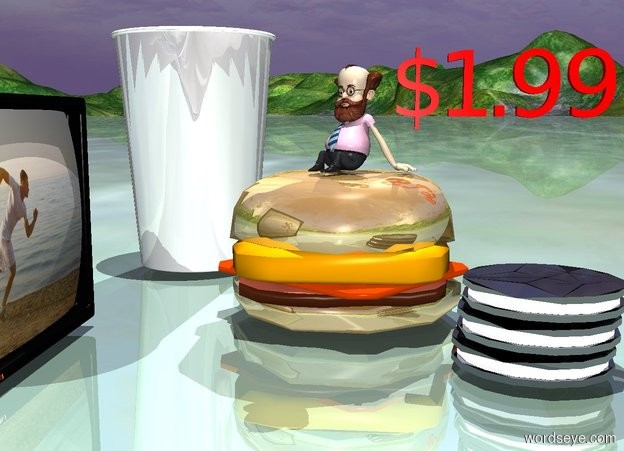 "Input text: a shiny sandwich. a 6 inch wide shiny cup is to the left of and -1 inches in front of the sandwich. a 1st shiny cookie is -1 inches to the right of and -1 inch behind the sandwich. a 2nd shiny cookie is above the 1st cookie. a 3rd shiny cookie is above the 2nd cookie. a 3 inch tall man is -.1 inch above the sandwich. he is facing southeast. a 2.5 inch tall red ""$1.99"" is to the left of and -1 inch behind and -2 inches above the man. it is facing right. a .5 foot tall television is -2 inches to the right of and 3 inches in front of the sandwich. it is facing back. the television's screen is [exercise]. a linen light is 5 feet above the man."