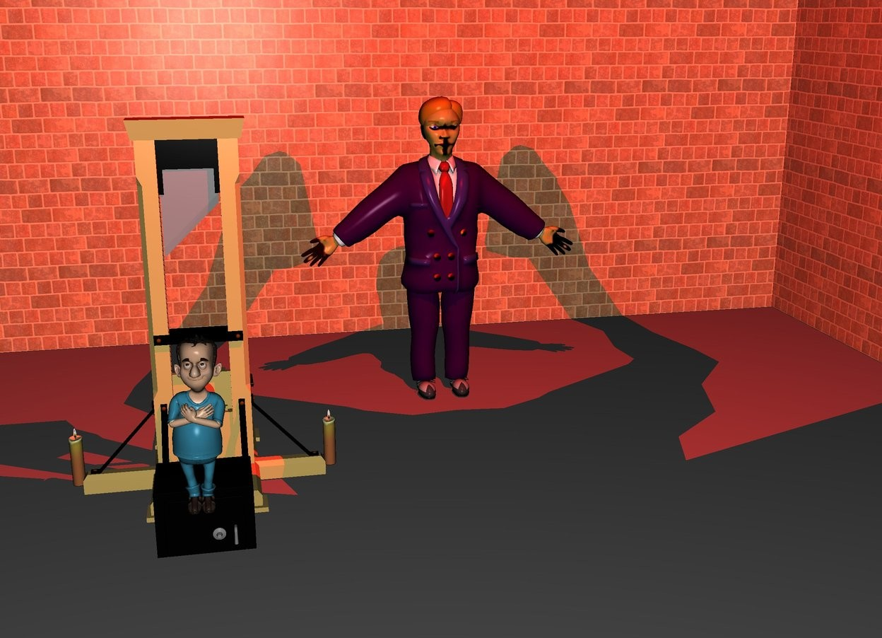 Input text: There is a purple man 4 feet in front of a first wall. the purple man is on the ground. The first wall is [texture]. On the left of the first wall is a second wall facing right. The second wall is [texture]. On the right of the first wall is a third wall facing left. The third wall is [texture]. On the left of the man is a small guillotine. The guillotine is 1 feet in front of the man. Behind the guillotine is a 2.5 feet tall boy. The boy is 1 feet above the ground. The boy is 0.5 inch in front. The boy is on a small box. The box is in front of the guillotine.  4 feet in front of the purple man is an enormous bat. The bat is 10 feet above the ground. The bat faces down. Above the bat is a  big red light. it is night. On the right of the guillotine is a first big candle on the ground. On the left of the guillotine is a second big candle on the ground.