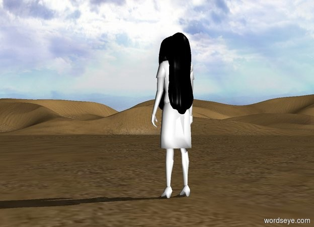 Input text: a white woman. a first 3 foot tall and 1 foot wide black head of hair is -.5 feet in front of and -3 feet above the woman. it is facing back.a second 3 foot tall and 1 feet wide black head of hair is -6.8 inches behind and -3 feet above the woman.the woman's hair is black.