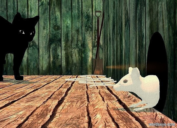 Input text: a 1st [wood] wall is behind a [wood] floor. a 1 foot tall egg is 0 inches in front of the wall. it is leaning 90 degrees to the right. it is flat. it is -.1 feet above the floor. it is black. a .65 foot tall white mouse is -1.7 feet in front of the wall. it is 0 inches above the floor. a 2nd wood wall is to the left of the floor. it is facing right. a 3 foot tall black cat is 1.8 feet in front of and 3.5 feet to the left of the mouse. it is facing the mouse. it is leaning to the front. it is -5 inches above the floor.  it is noon. the mouse's eye is black. the sun is terracotta. a tiny malachite green light is 1 inch behind and -3 inches above the cat. the ambient light is dim beige.  a 4 foot tall shovel is 0 inches in front of the 1st wall. it is 0 inches to the right of the 2nd wall. it is 0 inches above the floor. it is facing right. a pitchfork is 3 inches to the right of the shovel. it is leaning 10 degrees to the back. the camera light is very dim beige. a white rope is to the right of the pitchfork. an orange spice light is to the right of the shovel. a black light is in front of the mouse.