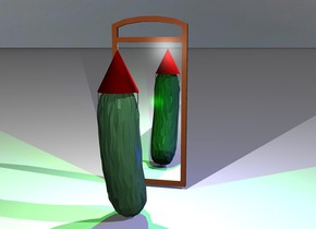 a giant pickle is facing north west. a hat is in the pickle. there is a blue light facing the pickle. there is a mirror one foot in front of the pickle. there is a white light above the pickle. there is a lime light in front of the pickle one foot off the ground. the pickle is blue green.