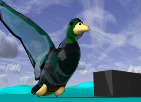 the sky is bright. clouds are dark. the ground is cyan. a big glass duck is on the ground.