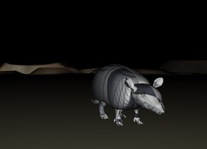 it is night. the ground is mirror. rubber armadillo is small.