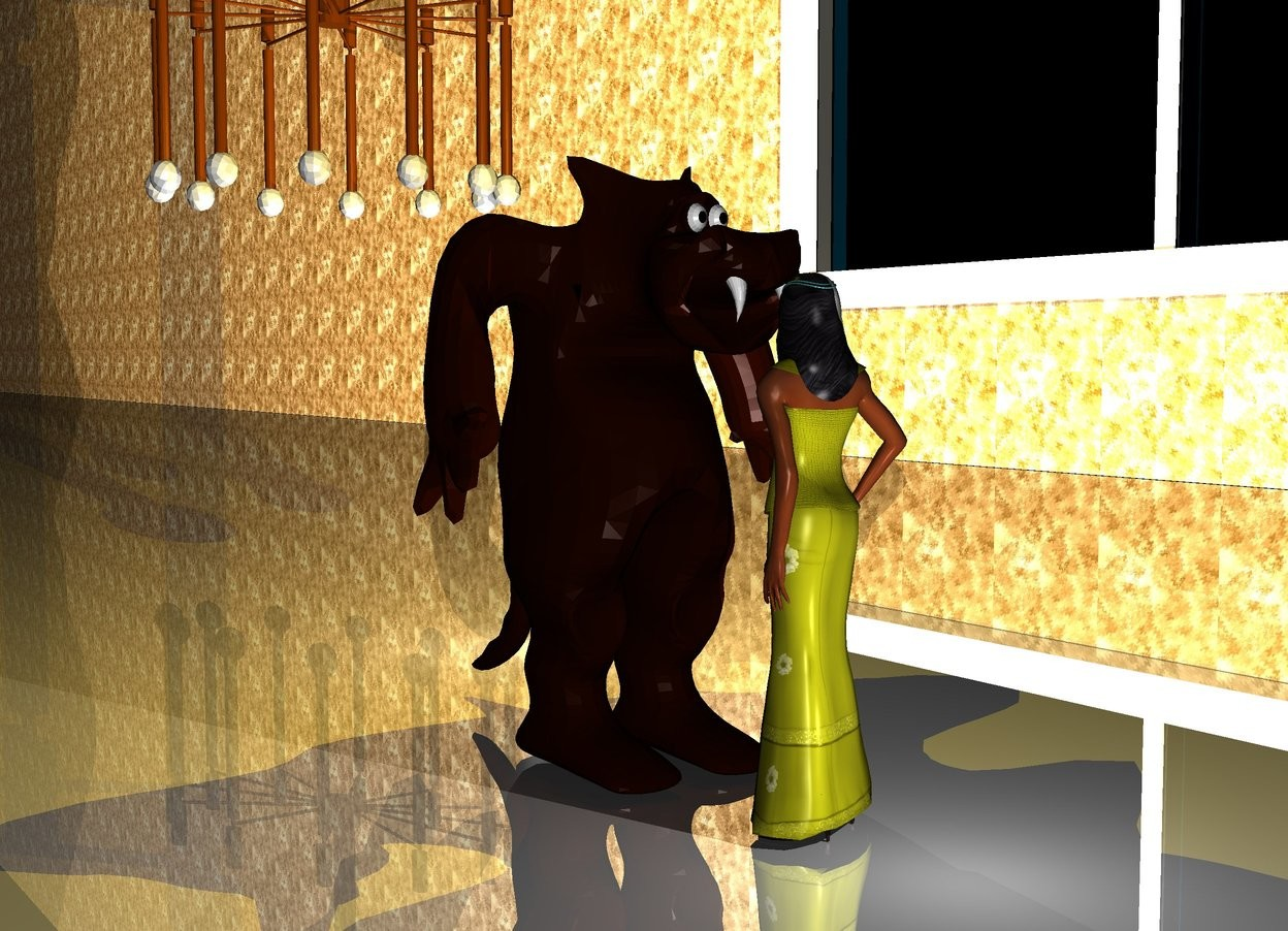 Input text: There is a small  Monster in front of a 4 feet tall yellow woman. The monster faces the woman.  25 feet on the left of the monster is an enormous window. The window faces the monster. On the left side of the window is a first 500 feet long and 50 feet high  wall. The wall faces the monster. The wall is [texture]. The window is 5 feet above the ground. The wall is on the ground. The window is shiny. The ground is shiny.  a big chandelier is above the monster.  In front of the monster is a big light. It is night. Above the monster is a first big golden light. In front of the monster is a second light. Behind the woman is a third big light. It is night.
