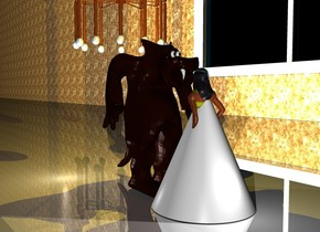 There is a small  Monster in front of a 4 feet tall yellow woman. The monster faces the woman. a 3.5 feet tall white cone is -4 feet above the woman.the cone is 3 feet wide.the woman's bathing suit is [web]. 25 feet on the left of the monster is an enormous window. The window faces the monster. On the left side of the window is a first 500 feet long and 50 feet high  wall. The wall faces the monster. The wall is [texture]. The window is 5 feet above the ground. The wall is on the ground. The window is shiny. The ground is shiny.  a big chandelier is above the monster.  In front of the monster is a big light. It is night. Above the monster is a first big golden light. In front of the monster is a second light. Behind the woman is a third big light. It is night.