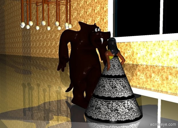 Input text: There is a small  Monster in front of a 4 feet tall yellow woman. The monster faces the woman. a 3.5 feet tall [lace] cone is -4 feet above the woman.the cone is 3 feet wide.the woman's bathing suit is [web]. 25 feet on the left of the monster is an enormous window. The window faces the monster. On the left side of the window is a first 500 feet long and 50 feet high  wall. The wall faces the monster. The wall is [texture]. The window is 5 feet above the ground. The wall is on the ground. The window is shiny. The ground is shiny.  a big chandelier is above the monster.  In front of the monster is a big light. It is night. Above the monster is a first big golden light. In front of the monster is a second light. Behind the woman is a third big light. It is night.