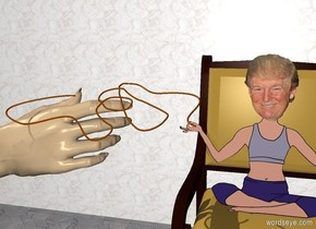 The enormous tan hand is 4 feet above the ground. It is facing right. It is leaning 90 degrees to the back. The very long and tall marble wall is 4 feet behind the hand. It is on the ground.  The large chair is two feet to the right of the hand. It is on the ground. The trump is on the chair. The ground is tile.  The rope is -7 inches to the left of the trump. It is leaning forward. It is -2.3 feet above the trump.
