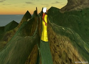 ground is 100 feet tall and 900 feet wide..ground is flat.ambient light is 80% dim  gold.a 260 inch tall yellow   woman .