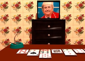 a large wall is 2 foot wide [flower]. a large nightstand is in front of the wall. a television is on the nightstand. the television's screen is [kangaroo].   a large table is 5 feet in front of the nightstand. a large ashtray is  -1.5 foot behind and -1.5 foot to the left of and 0 inches above the table. a .7 foot tall and .1 foot wide cigarette is -.1 foot above and -.4 feet to the left of the ashtray. it is facing northeast. it is leaning 70 degrees to the back. a small zeta is -.3 foot above and -.1 feet to the right of the cigarette. it is 1 foot wide [gray].   a 1st big card is 0 inches above and -2 feet to the left of and -2.5 feet behind the table. a 2nd big 90% dark card is .05 foot to the right of the 1st card. a 3rd big card is -5 inches in front of the 2nd card. a 4th big card is .05 foot to the right of the second card. it is 80% dark. a 5th big 90% dark card is -5 inches in front of the 4th card. a 6th big card is -5 inches in front of the 5th card. a 7th big card is .05 feet to the right of the 4th card. a 8th big 90% dark card is .05 feet to the right of the 7th card. a 9th big card is -5 inches in front of the 8th card.a 10th big card is .05 feet to the right of the 8th card. an 11th big card is .05 feet to the right of the 10th card. the camera light is black. it is noon. a linen light is 10 feet above the table. the ambient light is copper. the sun is camel brown.