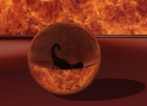 big transparent sphere.  big  bug -15 inches above sphere.  The ground is [blood]. The sky is [fire]