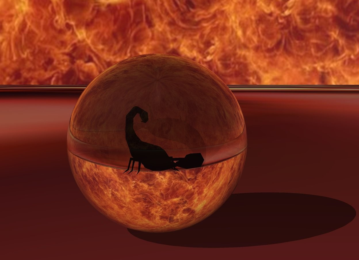 Input text: big transparent sphere.  big  bug -15 inches above sphere.  The ground is [blood]. The sky is [fire]