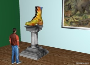 a giant boot.the boot is on a pedestal.the boot is [paint].the pedestal is [water].a man is 2 feet in front of the pedestal.the man is facing the pedestal.the man's shirt is rust.a 40 feet tall first wall is 4 feet behind the pedestal.a second 40 feet tall wall is left of the first wall.the second wall is facing right.the second wall is -8 inches in front of the first wall.a huge picture is 1 feet right of the pedestal.the picture is in front of the first wall.the picture is 5 feet above the ground.the first wall is sea mist blue.the second wall is peppermint green.the ground is wood.