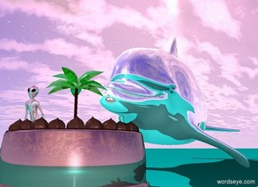 There is a reflective cyan dolphin. The ground is cyan. A shiny cake is in front of the dolphin. A shiny green 7 inch tall palm tree is 3 inches in the cake. A 6 inch tall shiny pink alien is to the left of the palm tree.