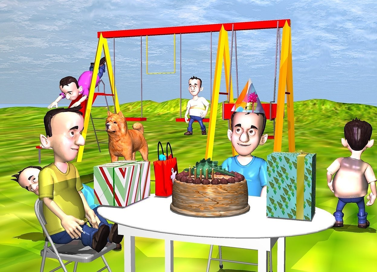 Input text: a 3 foot tall and 6 foot wide white table. a 3 foot tall chair is behind the table. a 1st 4 foot tall boy is on the chair. a 2 foot tall [party] party hat is -1.2 foot above and -2.3 foot in front of and -1.7 foot to the left of the boy. it is leaning 3 degrees to the left. a large linen [green] cake is on the table. a .6 foot tall peppermint green  dinosaur is -3 inch over the cake. it is facing left. a 1st .4 foot tall and .05 foot wide candle is -2 inches over and -5 inches in front of the cake. a 2nd .4 foot tall and .05 foot wide candle is 1 inch to the left of the 1st candle. a 3rd .4 foot tall and .05 foot wide candle is 1 inch to the left of the 2nd candle. a 4th .4 foot tall and .05 foot wide candle is 1 inch to the right of the 1st candle. a 5th .4 foot tall and .05 foot wide candle is 1 inch to the right of the 4th candle.   a 2nd 3 foot tall chair is to the left of the table. it is facing right. a 2nd 4 foot tall boy is on the chair. he is facing right. the boy's shirt is yellow.  a 1st 1 foot tall present is -1 foot to the left of and over the table. a 1.5 foot tall red bag is behind and to the right of the present. it is facing right. a 2nd 1.5 foot tall and 1 foot wide present is .5 foot to the right of the cake.  the ground is [grass]. large playground swing set  is 10 feet behind and to the left of the 1st boy.  a 3rd 4 foot tall boy is -7.5 feet above and -7 feet to the right of the swing set. his shirt is [pattern]. a 4th 3 foot tall boy is -7 feet above and -2 feet to the left of the swing set. he is leaning 45 degrees to the front. his shirt is purple.  a 5th 4 foot tall boy is 2 feet behind and 2 feet to the left of the table. a large dog is in front of the swing set.   a 6th 5 foot tall boy is 8 feet behind and -1 foot to the right of the table. he is facing back. his shirt is [texture].  a small lavender light is 1 foot above the cake. a brown light is 5 feet above the dog.  it is noon.
