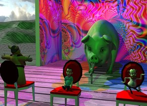 the huge lime pig is on the wood ground. the large microphone is in front of the pig. it is facing back. the 1st tall [hippie] wall is 5 feet behind the pig. a 2nd tall [hippie] wall is to the left of the 1st wall. It is facing right. a 1st red chair is 7 feet in front of the pig. It is on the ground. a 2nd red chair is 2 feet to the right of the 1st chair. a 3rd red chair is 2 feet to the left of the 1st chair. it is facing the back. the red light is 3 feet above and to the left of the pig. the blue light is 3 feet to the right of the red light. the green light is 3 feet in front of the 1st chair. it is 8 feet above the ground. the camera light is black. the tiny man is on the 1st seat. a 2nd tiny man is on the 2nd chair.  a 3rd small woman is on the third chair. she is facing the pig.